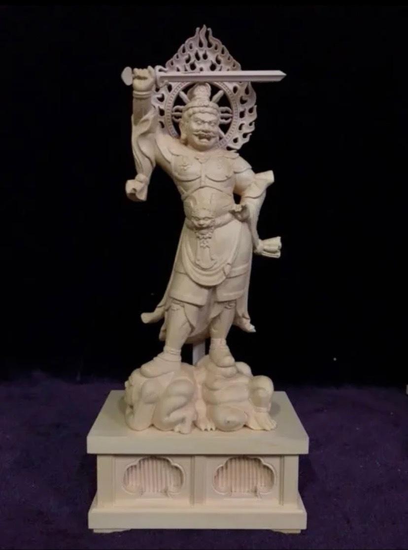 最高級 仏教工芸品 総柘植材 精密彫刻 極上品 木彫仏教 仏師で仕上げ品 四天王立像一式_画像6