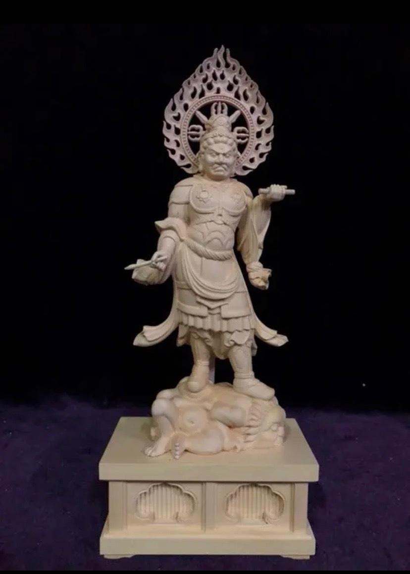最高級 仏教工芸品 総柘植材 精密彫刻 極上品 木彫仏教 仏師で仕上げ品 四天王立像一式_画像7