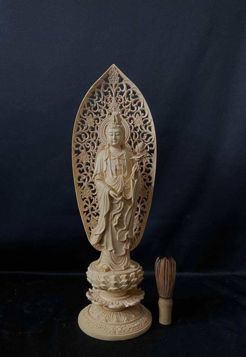 高43cm 総檜材 仏教工芸品 木彫仏教 精密彫刻 極上品 仏師で仕上げ品 勢至観音菩薩立像_画像2