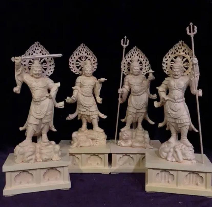 最高級 仏教工芸品 総柘植材 精密彫刻 極上品 木彫仏教 仏師で仕上げ品 四天王立像一式_画像3
