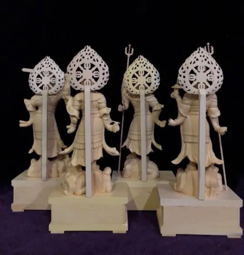 最高級 仏教工芸品 総柘植材 精密彫刻 極上品 木彫仏教 仏師で仕上げ品 四天王立像一式_画像10