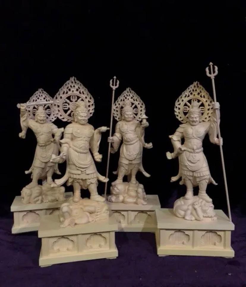 最高級 仏教工芸品 総柘植材 精密彫刻 極上品 木彫仏教 仏師で仕上げ品 四天王立像一式_画像5