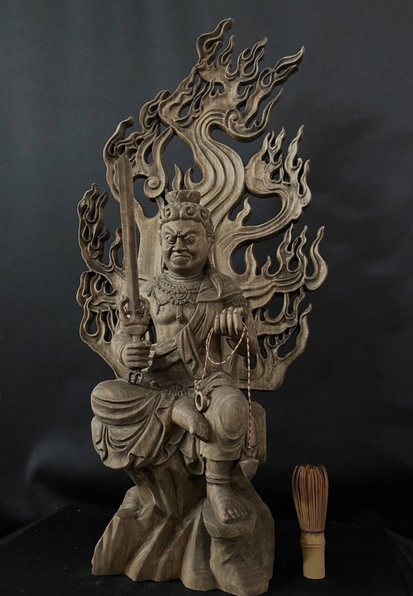 井波彫刻 大型高58cm 仏教工芸品 香樟材 時代彫刻 古美術 木彫仏教 精密彫刻 仏師で仕上げ品 不動明王座像