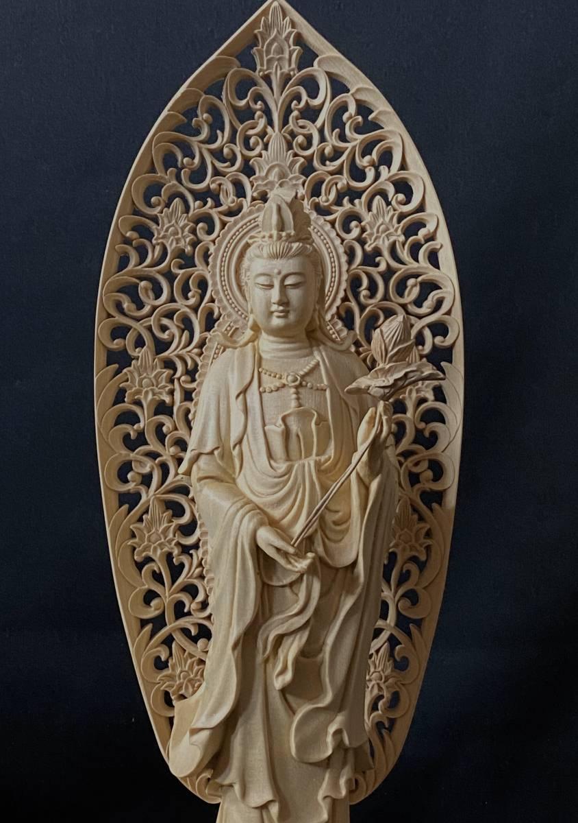 高43cm 総檜材 仏教工芸品 木彫仏教 精密彫刻 極上品 仏師で仕上げ品 勢至観音菩薩立像_画像3