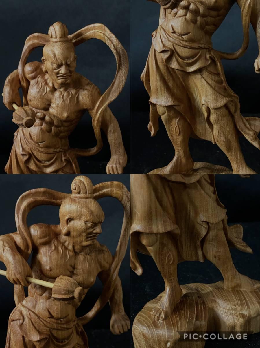 井波彫刻 極上彫 仏教工芸品 総ケヤキ材 精密彫刻 木彫仏教 仏師で仕上げ品 金剛力士立像一式_画像9