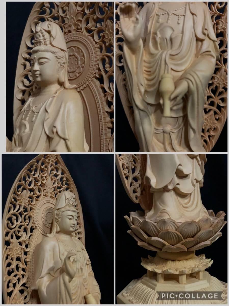 最高級 井波彫刻 仏教工芸品 総柘植材 精密彫刻 極上品 木彫仏教 仏師で仕上げ品 阿弥陀如来三尊立像立像一式_画像7