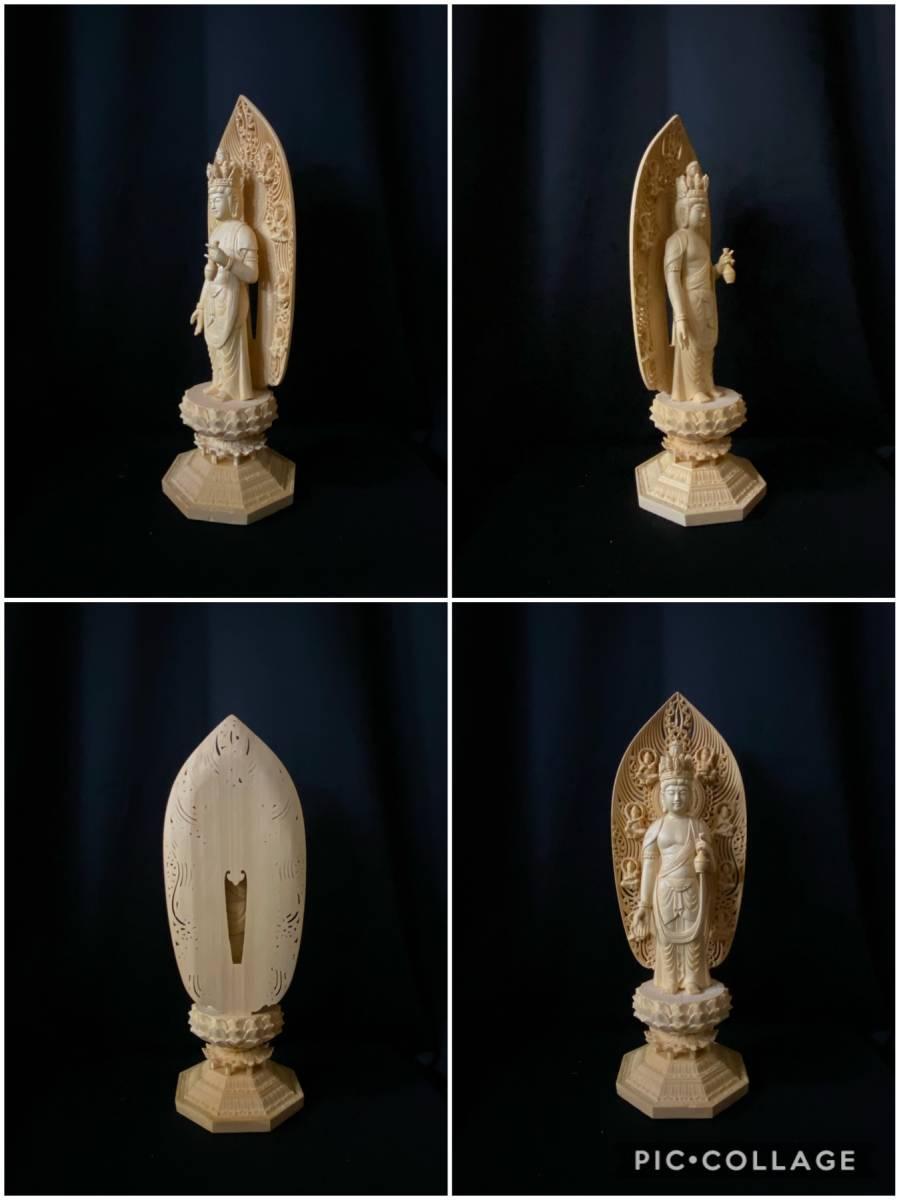 高43cm 井波彫刻 総檜材 仏教工芸品 木彫仏教 精密彫刻 極上品 仏師で仕上げ品 武者 十一面観音菩薩立像_画像5