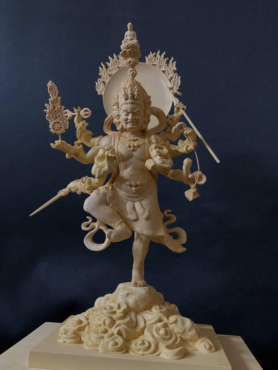 高41cm 最高級 柘植材 珍品 仏教工芸 木彫仏像 仏師手仕上げ品 烏枢瑟摩明王