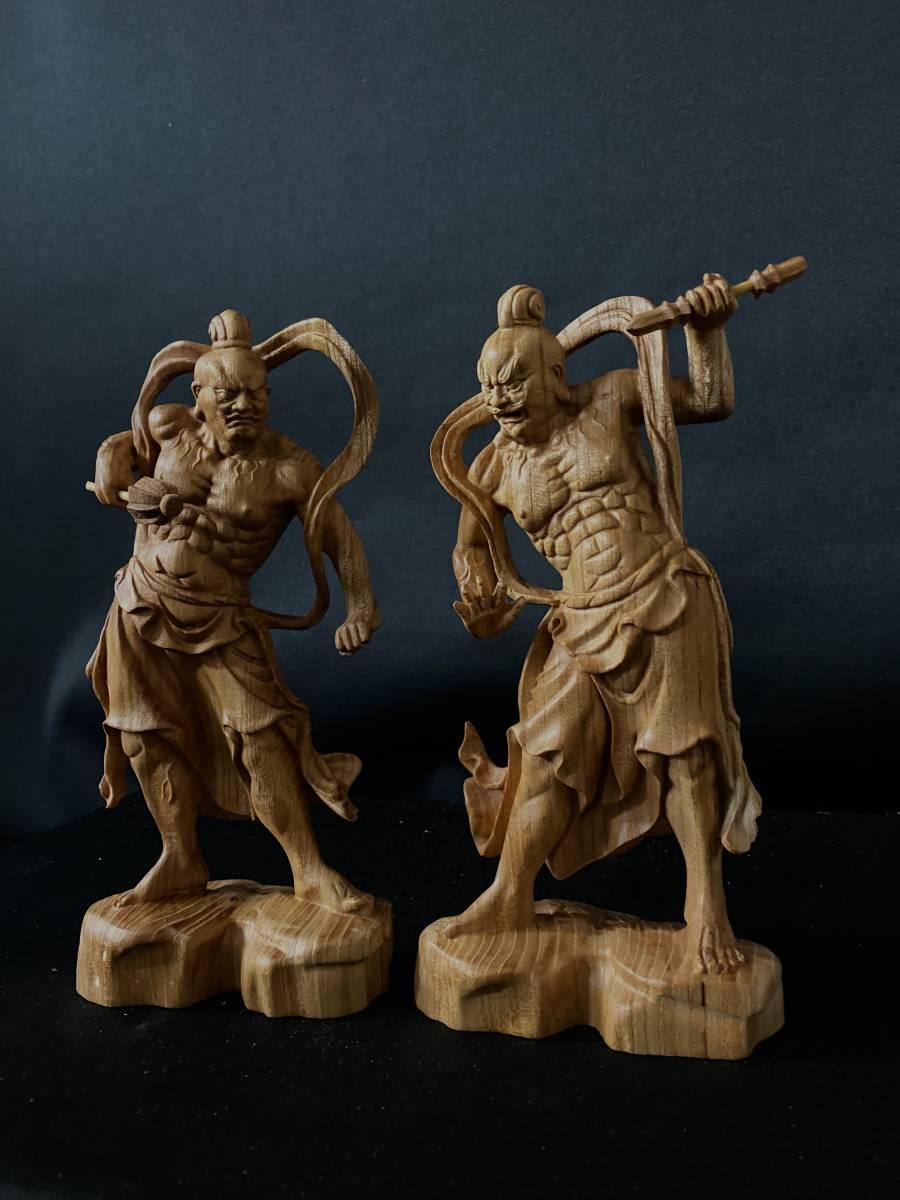 井波彫刻 極上彫 仏教工芸品 総ケヤキ材 精密彫刻 木彫仏教 仏師で仕上げ品 金剛力士立像一式_画像1
