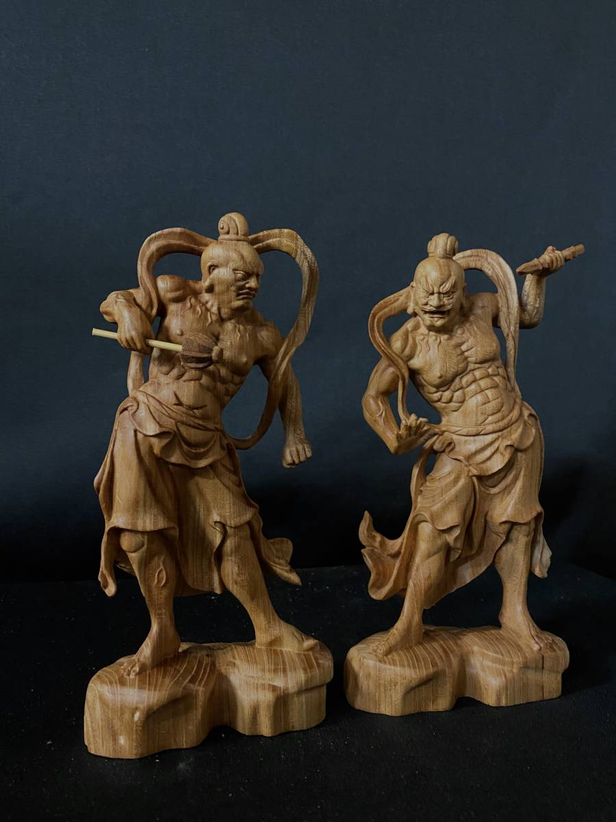 井波彫刻 極上彫 仏教工芸品 総ケヤキ材 精密彫刻 木彫仏教 仏師で仕上げ品 金剛力士立像一式_画像3