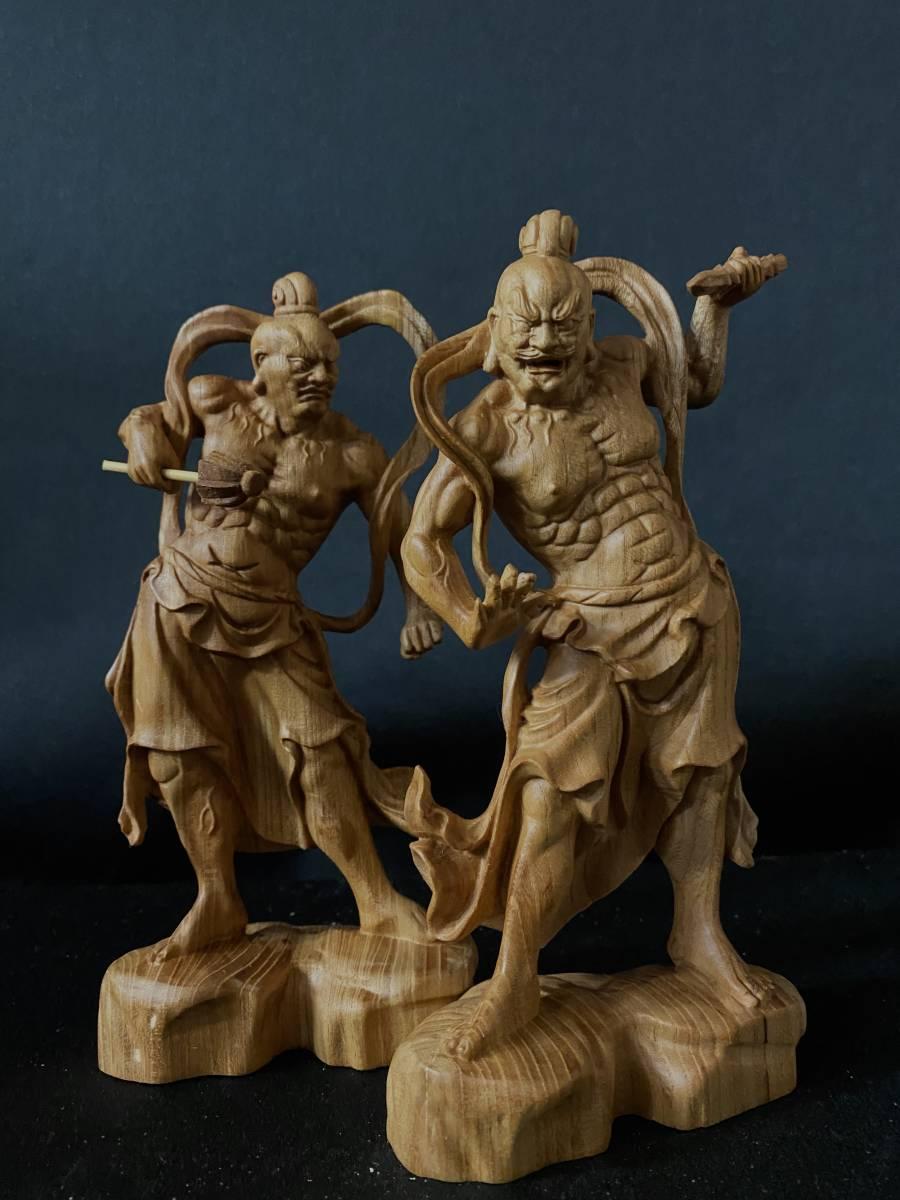 井波彫刻 極上彫 仏教工芸品 総ケヤキ材 精密彫刻 木彫仏教 仏師で仕上げ品 金剛力士立像一式_画像4