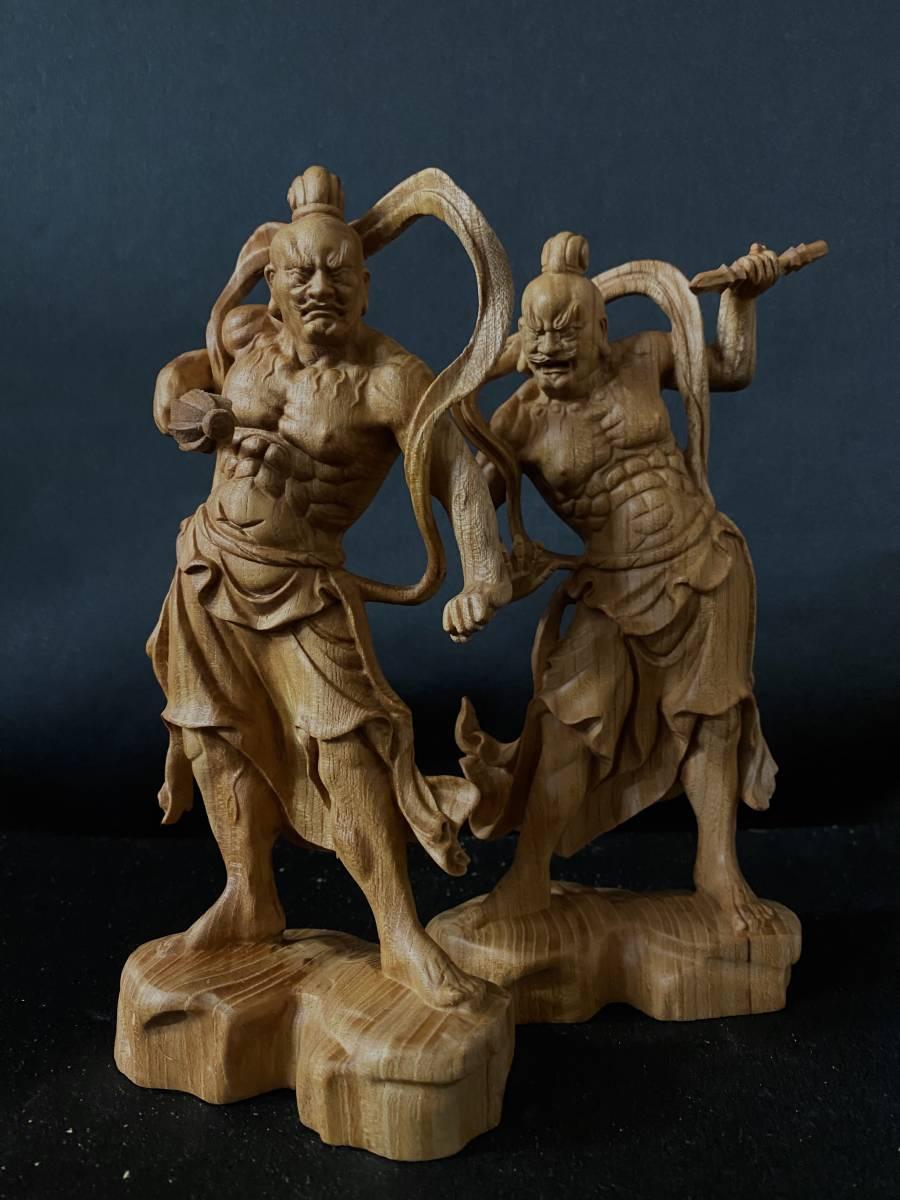 井波彫刻 極上彫 仏教工芸品 総ケヤキ材 精密彫刻 木彫仏教 仏師で仕上げ品 金剛力士立像一式_画像5