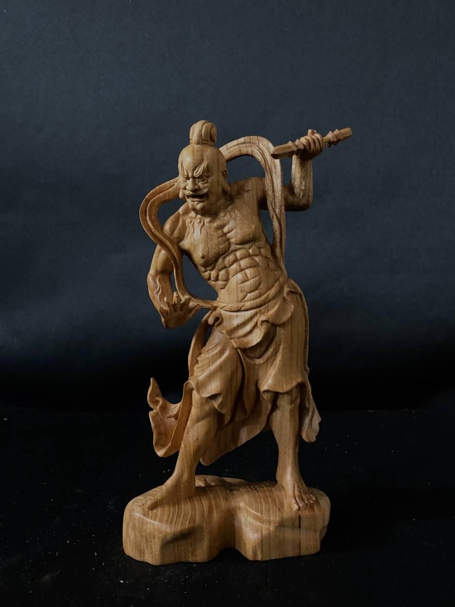 井波彫刻 極上彫 仏教工芸品 総ケヤキ材 精密彫刻 木彫仏教 仏師で仕上げ品 金剛力士立像一式_画像6