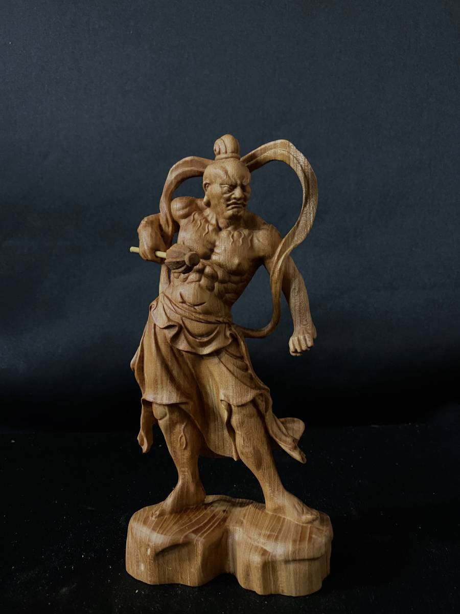 井波彫刻 極上彫 仏教工芸品 総ケヤキ材 精密彫刻 木彫仏教 仏師で仕上げ品 金剛力士立像一式_画像7