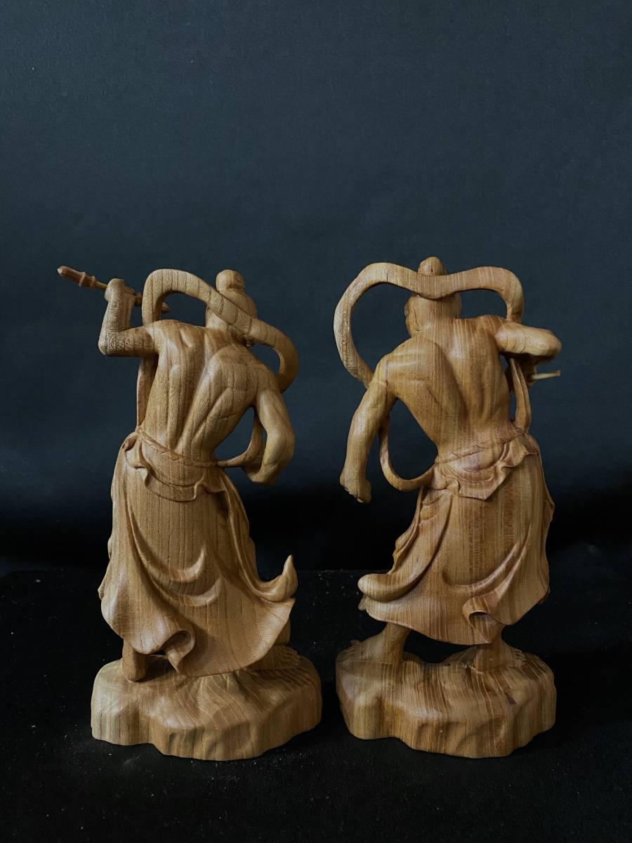 井波彫刻 極上彫 仏教工芸品 総ケヤキ材 精密彫刻 木彫仏教 仏師で仕上げ品 金剛力士立像一式_画像10