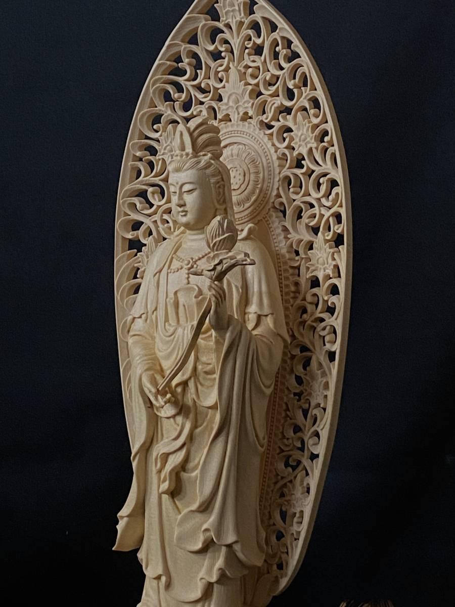 高43cm 総檜材 仏教工芸品 木彫仏教 精密彫刻 極上品 仏師で仕上げ品 勢至観音菩薩立像_画像4