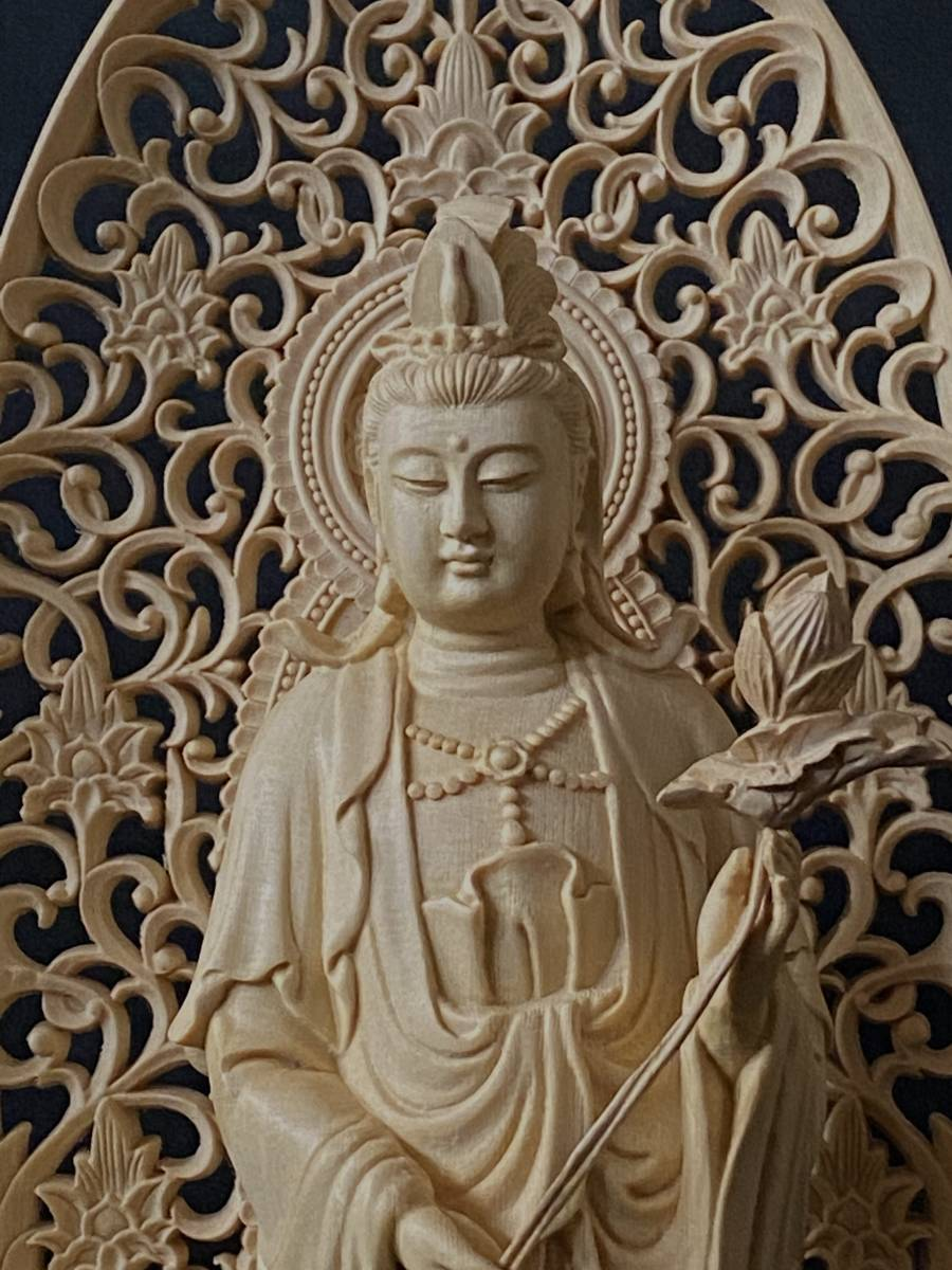 高43cm 総檜材 仏教工芸品 木彫仏教 精密彫刻 極上品 仏師で仕上げ品 勢至観音菩薩立像_画像6