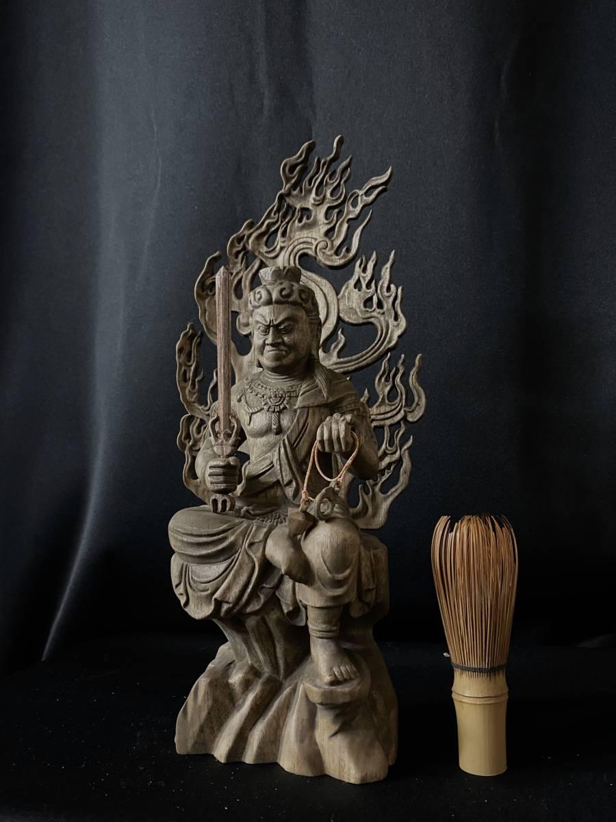 極上品 井波彫刻 高31cm 仏教工芸品 香樟材 時代彫刻 古美術 木彫仏教 精密彫刻 仏師で仕上げ品 不動明王座像