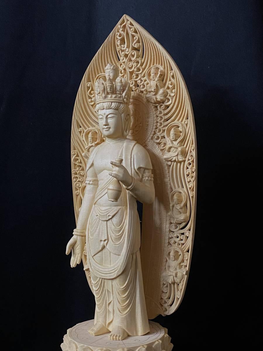 高43cm 井波彫刻 総檜材 仏教工芸品 木彫仏教 精密彫刻 極上品 仏師で仕上げ品 武者 十一面観音菩薩立像_画像8