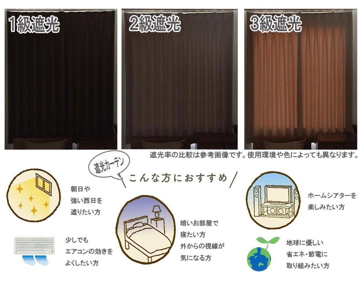 形状記憶 厚地 2級 遮光カーテン2枚組 幅100×丈178cm Soil-100-178BR ユニベール ブラウン_画像4