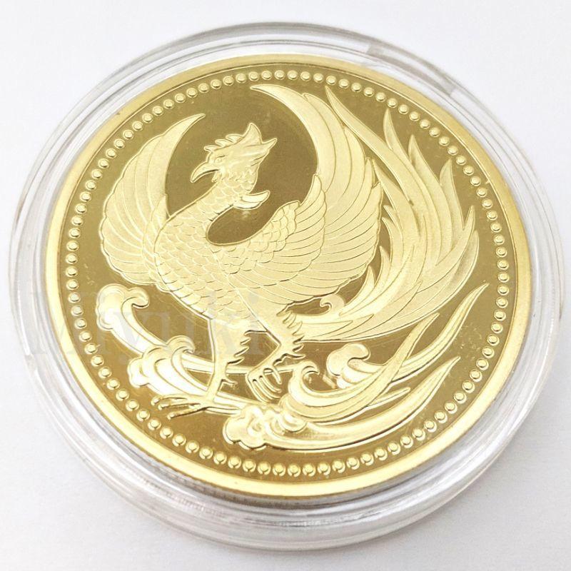 匿名配送 鳳凰 菊の御紋 コイン メダル 2色セット 40mm ゴールド シルバー 2個 金 銀 記念コイン コレクションコイン 菊紋 菊御紋_画像2