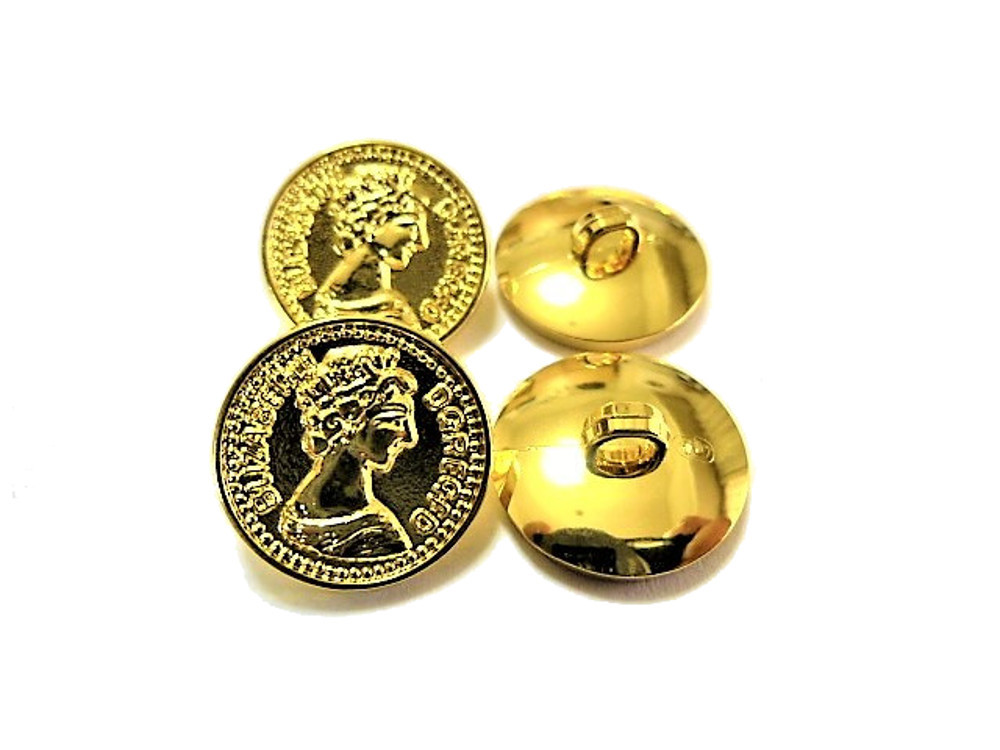 送料無料 手芸 素材 ファッション 材料 15mm ゴ-ルド色 コイン風 ABS メタル ボタン 30個入り ms327-1