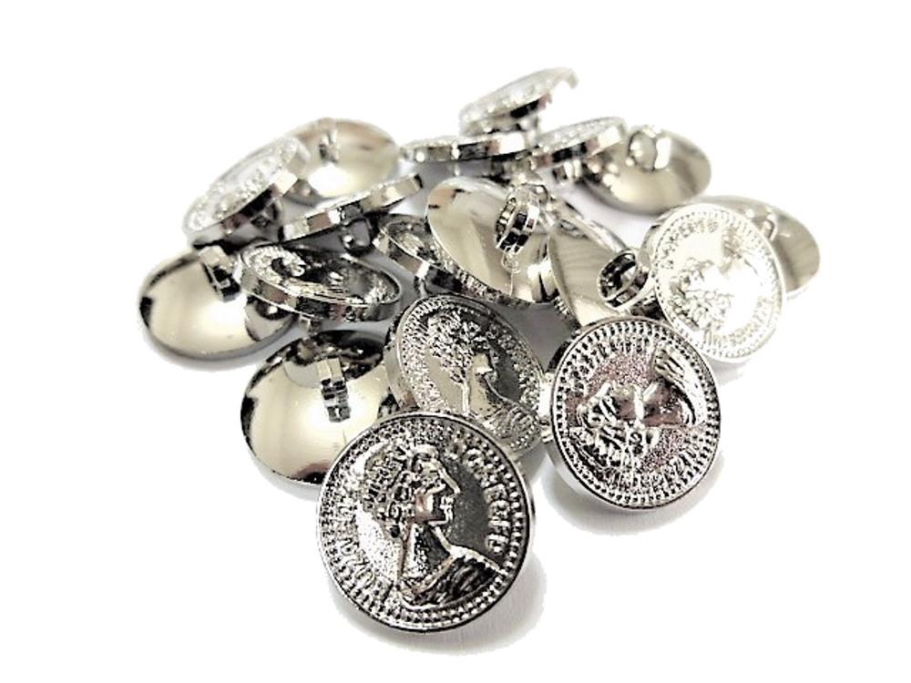 送料無料 手芸 素材 ファッション 材料 15mm シルバ-色 コイン風 ABS メタル ボタン 25個入り ms327s-1