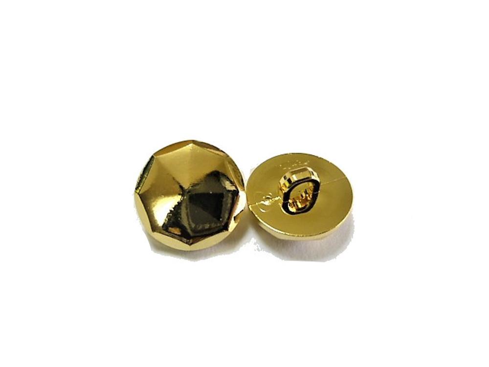 送料無料 手芸 素材 ファッション 材料 13mm ゴ-ルド色 多面カット ABS メタル ボタン 30個入り ms100