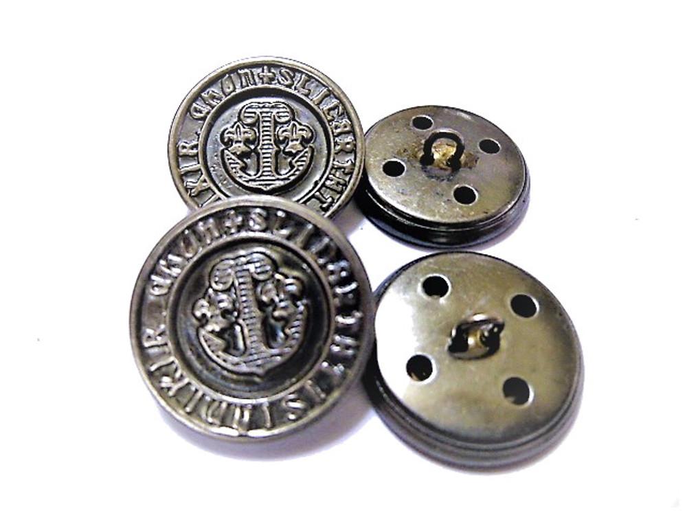 送料無料 手芸 素材 ファッション 材料 15mm シルバ-xブラック色 イカリアンカー メタル 金属 ボタン 10個入り ms134-1