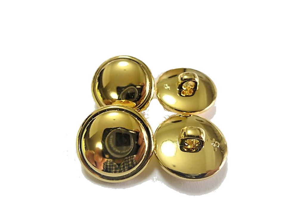 送料無料 手芸 素材 ファッション コ-ト ジャケット 材料 18mm ゴ-ルド色 プレ-ン ABS メタル ボタン 22個入り ms362