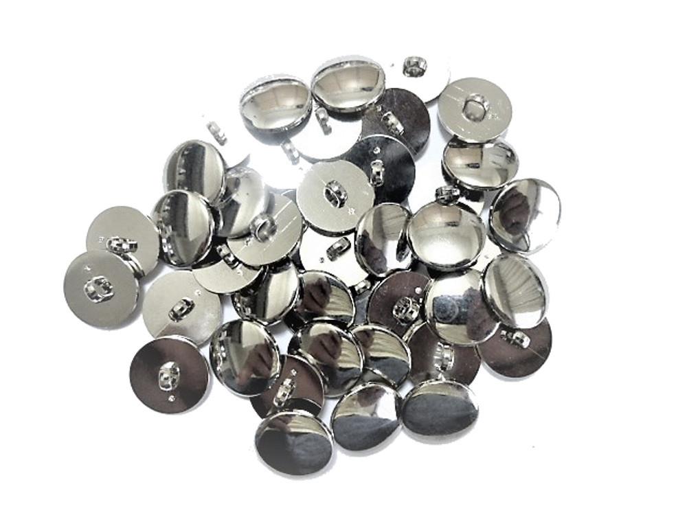 送料無料 手芸 素材 ファッション シャツ ブラウス 材料 10mm シルバー色 ABS メタル ボタン 35個入り ms054
