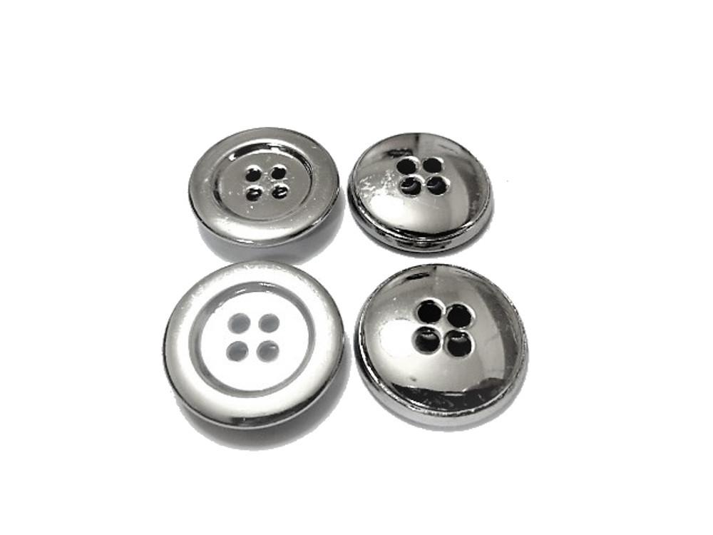送料無料 手芸 素材 ファッション シャツ ブラウス 材料 20mm シルバー色 4つ穴 メタル 金属 ボタン 20個入り ms064