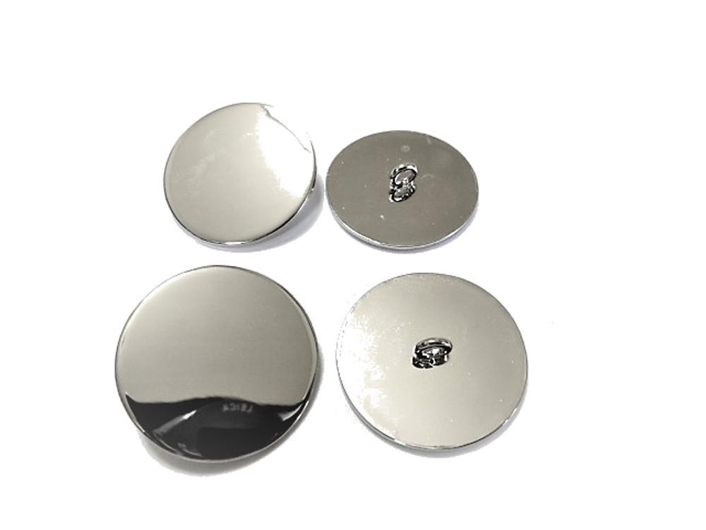 送料無料 手芸 素材 ファッション 材料 25mm シルバ-色 鏡面仕上げ メタル 金属 ボタン 8個入り ms071