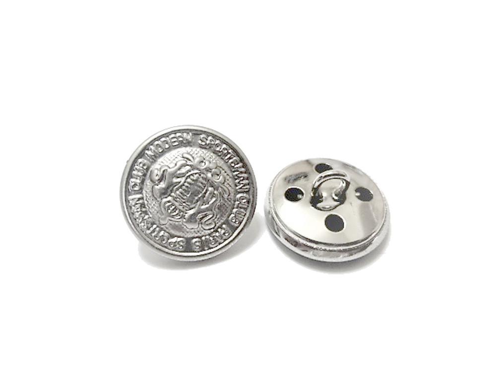 送料無料 手芸 素材 ファッション ジャケット 材料 15mm シルバ-色 エンブレム調 メタル 金属 ボタン 14個入り ms073