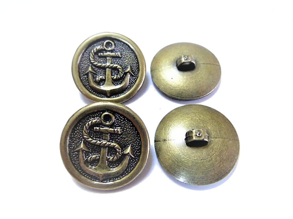 送料無料 手芸 素材 ファッション 材料 21mm ゴ-ルド色xブラック色 アンカー ABS メタル ボタン 22個入り ms216gb