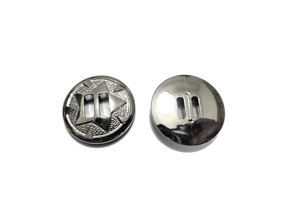 送料無料 手芸 素材 ファッション 材料 20mm シルバー色 星カット ABS メタル ボタン 24個入り ms312s