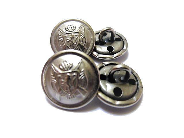 送料無料 手芸 素材 ファッション 材料 15mm シルバ-色 艶消し エンブレム調 メタル 金属 ボタン 10個入り ms142s-1