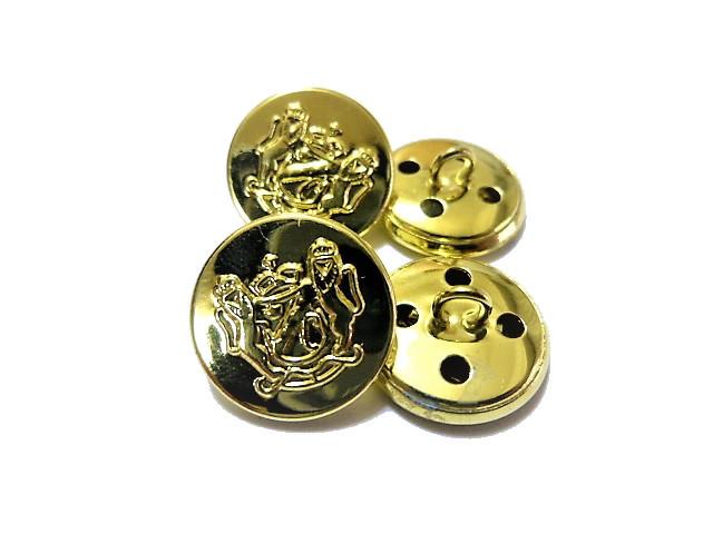 送料無料 手芸 素材 ファッション 材料 21mm ゴ-ルド色 家紋調 メタル 金属 ボタン 8個入り ms143