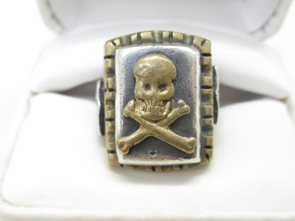 HTC メキシカンリング スカル 14号 中古 指輪 メンズ 箱付き ∴WA3086_画像2