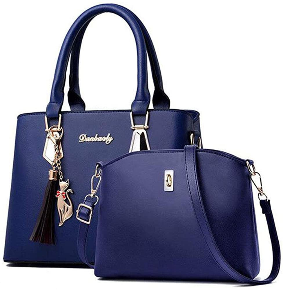 ブルー ハンドバッグ ショルダーバッグ 女性レザーカバン 革鞄 婦人カバン ファスナー ギフト 母の日プレゼント財布 収納小物 レディース_画像1