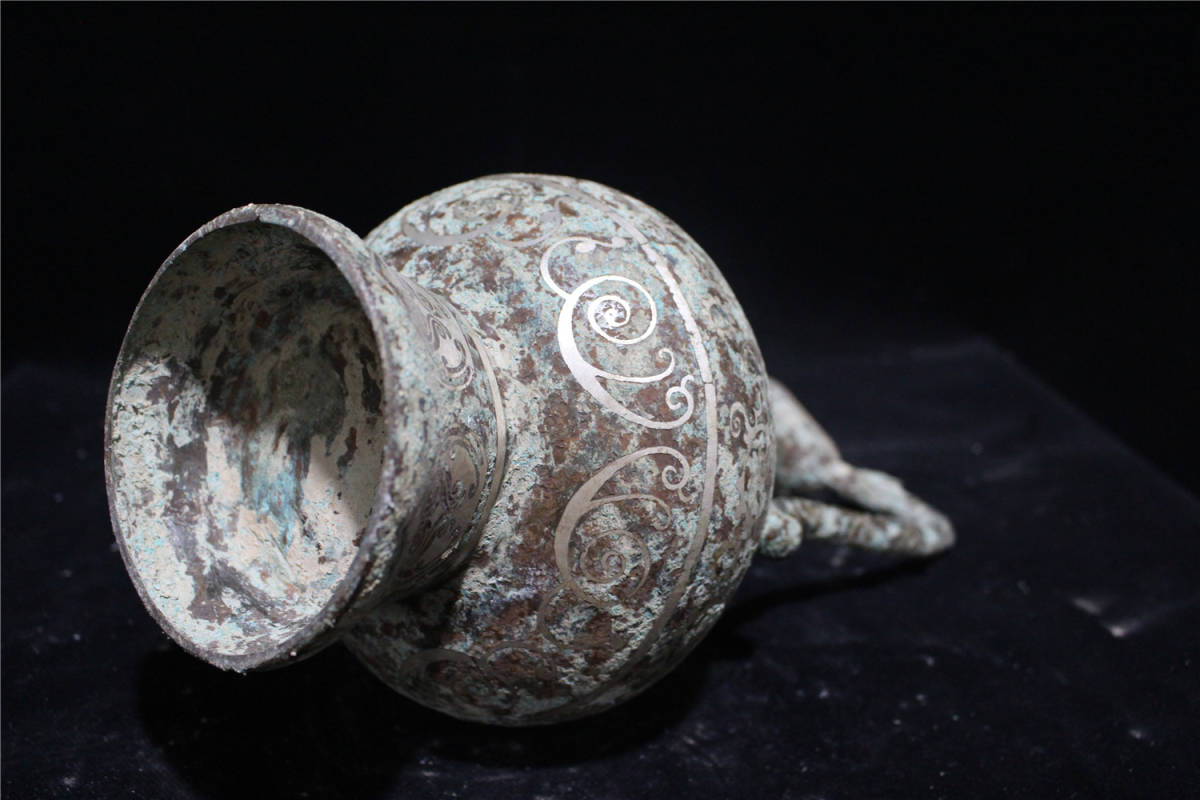 西漢時期 青銅器 錯銀 銘文 龍耳瓶_画像6