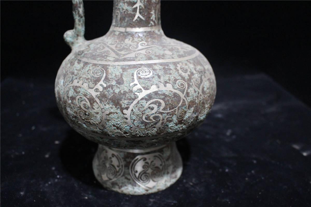 西漢時期 青銅器 錯銀 銘文 龍耳瓶_画像3