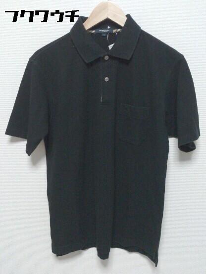 ◇ BURBERRY LONDON バーバリーロンドン 鹿の子 半袖 ポロシャツ サイズL ブラック メンズ_画像1