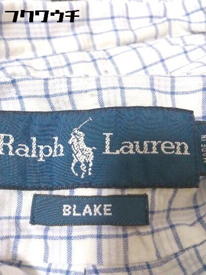 ◇ Ralph Lauren ラルフローレン 格子柄 ボタンダウン BD 半袖 シャツ サイズL ブルー メンズ_画像4