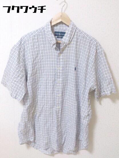 ◇ Ralph Lauren ラルフローレン 格子柄 ボタンダウン BD 半袖 シャツ サイズL ブルー メンズ_画像1