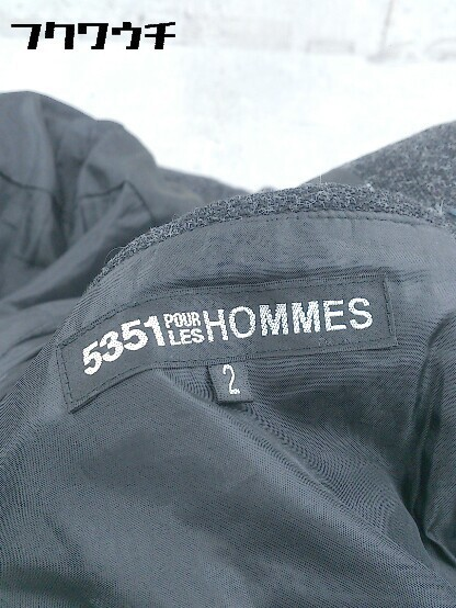 ■ 5351 POUR LES HOMMES トグル 中綿 ダッフル コート サイズ2 チャコールグレー メンズ_画像3