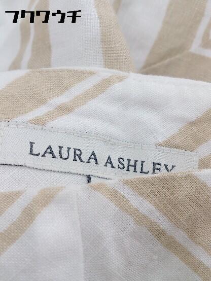 ◇ LAURA ASHLEY ローラ アシュレイ ロング フレア スカート 7 ホワイト ブラウン * 1002799642927_画像3