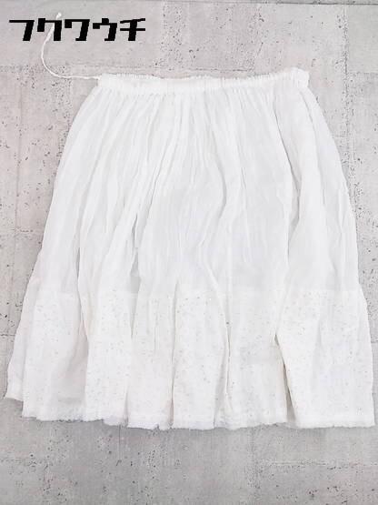 ◇ ZUCCa ズッカ ウエストゴム 膝下丈 フレア ギャザー スカート M ホワイト * 1002796867002_画像2