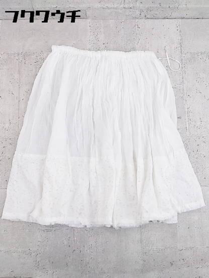 ◇ ZUCCa ズッカ ウエストゴム 膝下丈 フレア ギャザー スカート M ホワイト * 1002796867002_画像1