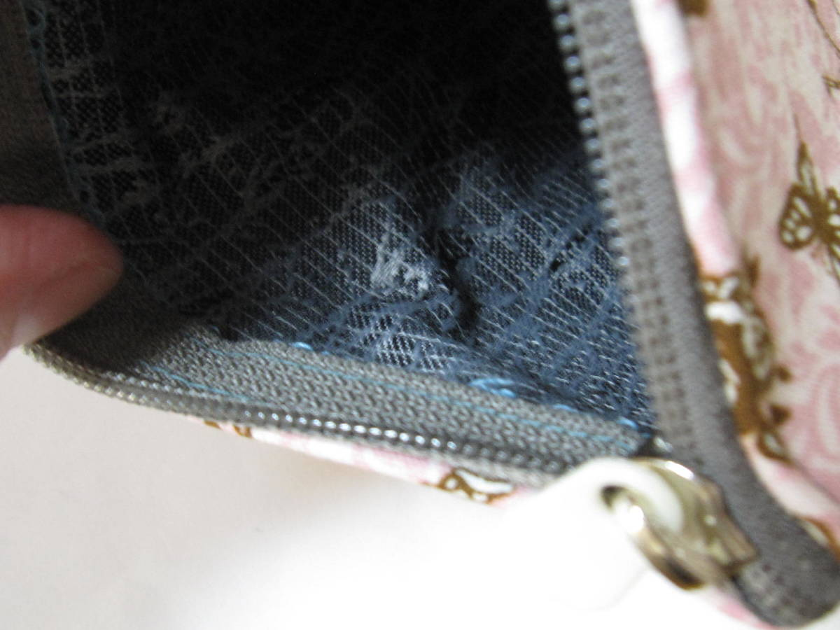 手作り 小物 ポーチ ダマスク 猫 薔薇 鍵 塔 花 模様 色々 アンティーク柄 レトロ ハンドメイド 財布 可愛い 充電器 兼用 ピンク_画像3